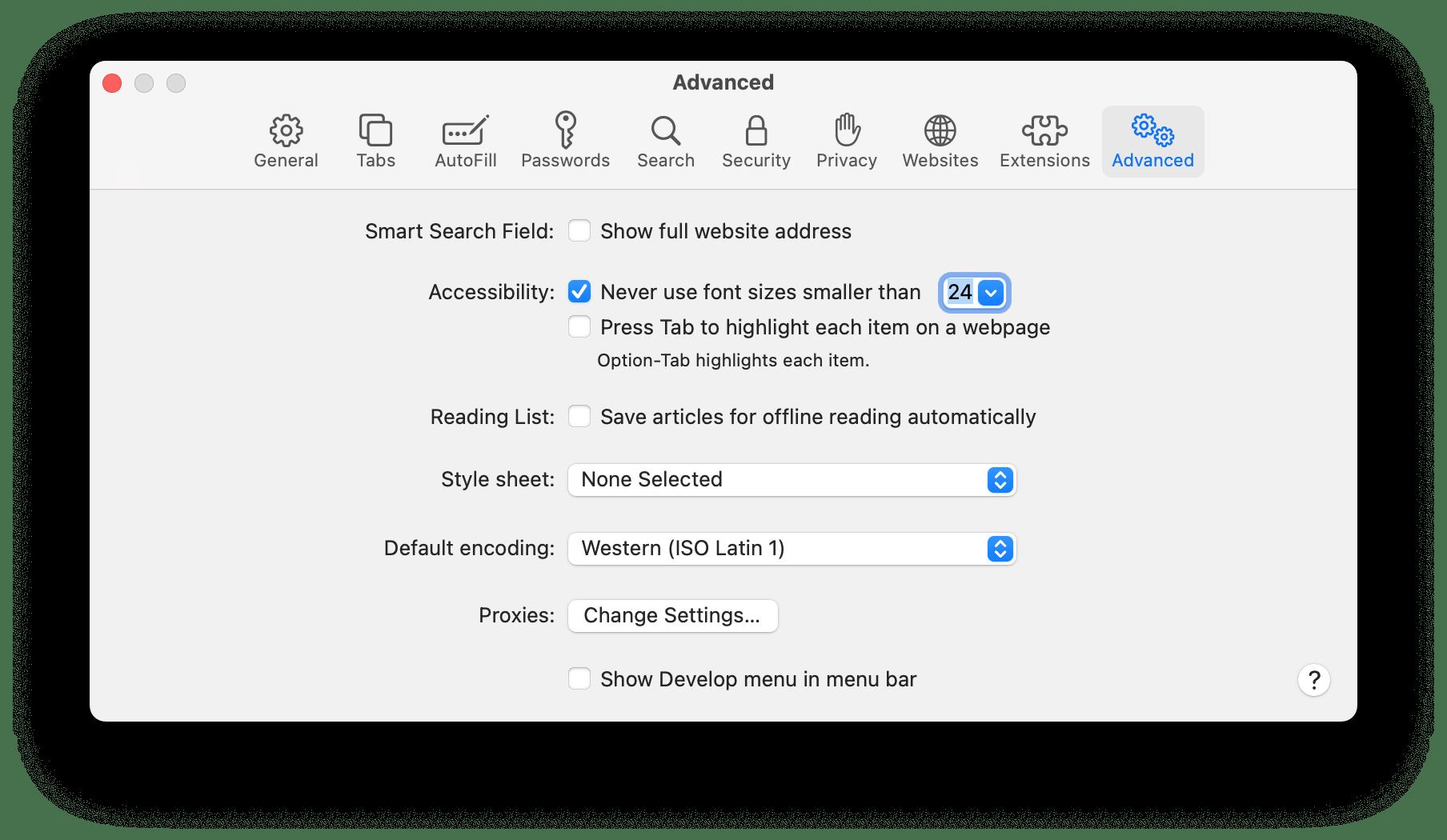 MacOS Safari font settings
