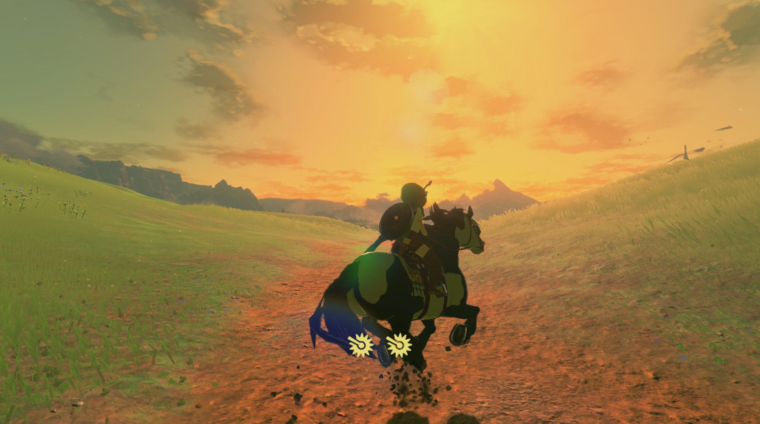 Linkle on horseback at dusk