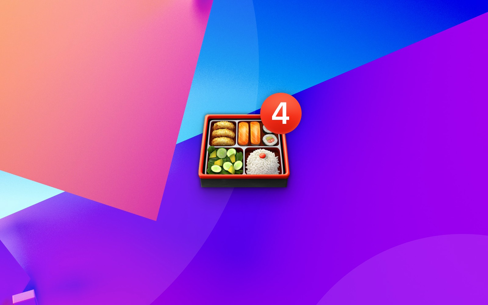 Bento box emoji with number 4 badge on abstract geometric background
