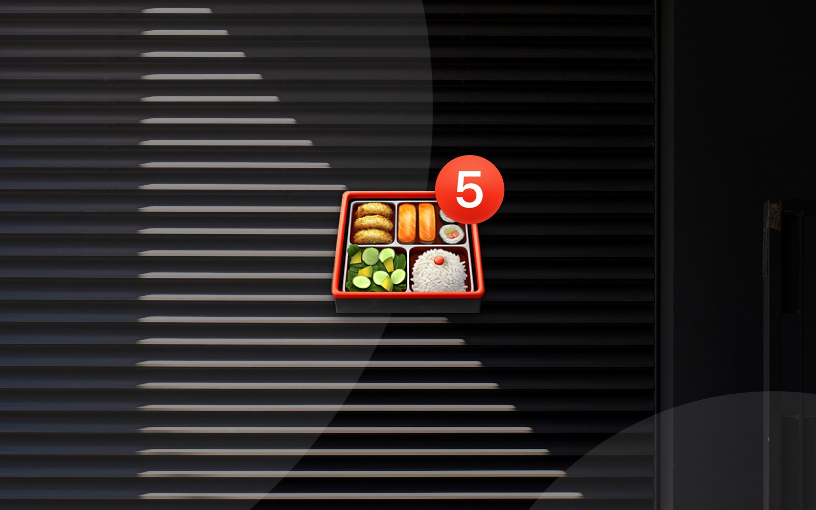 Bento box emoji with number 5 badge on abstract geometric background