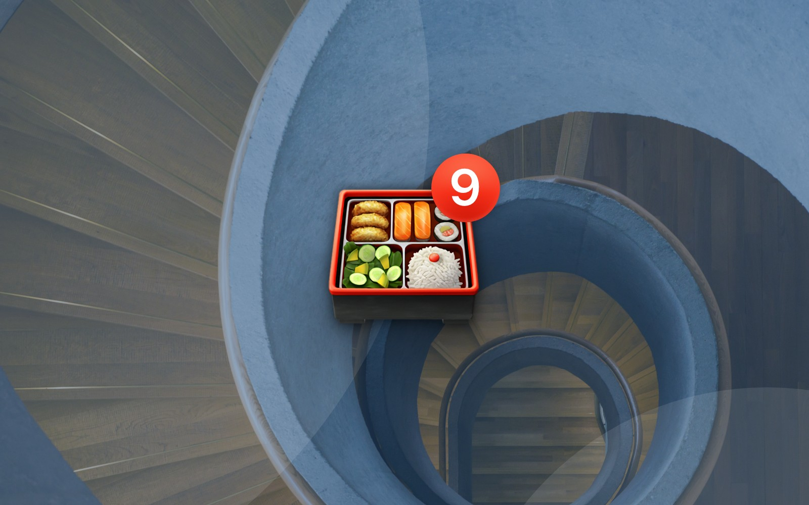 Bento box emoji with number 9 badge on spiral stair background