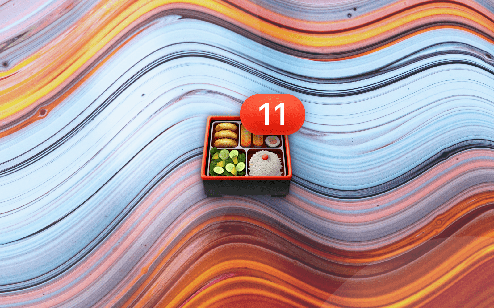 Bento box emoji with number 11 badge resting on a abstract waving background