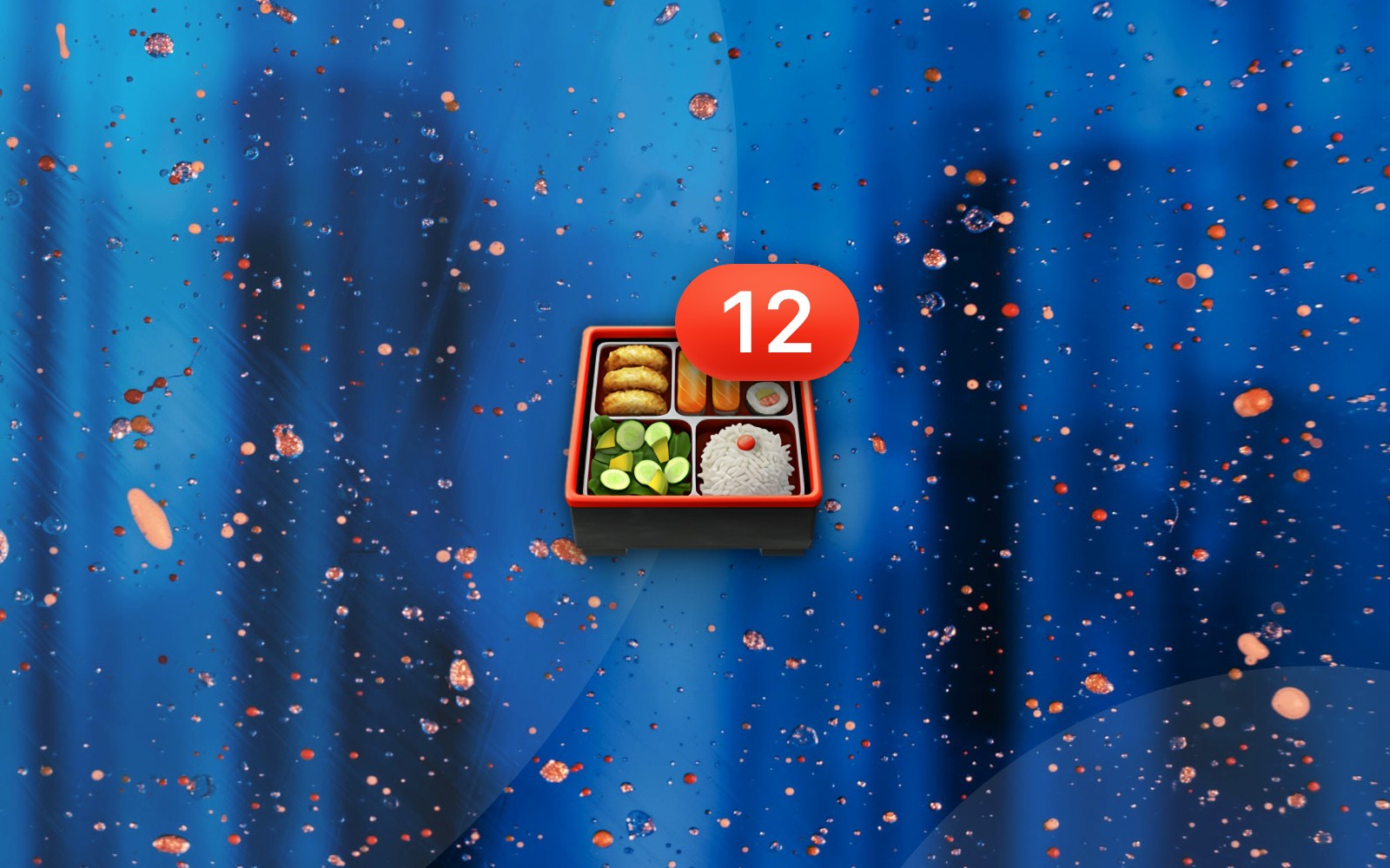 Bento box emoji with number 12 badge resting on an exploding azure background