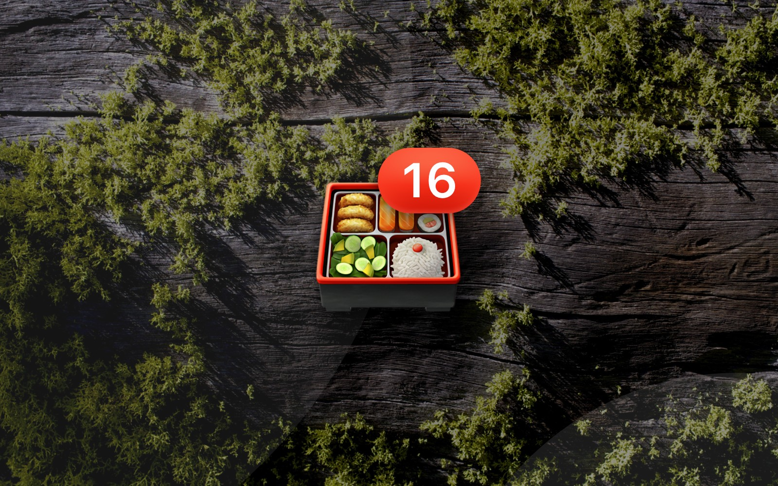 Bento box emoji with number 16 badge resting on a mossy wood background