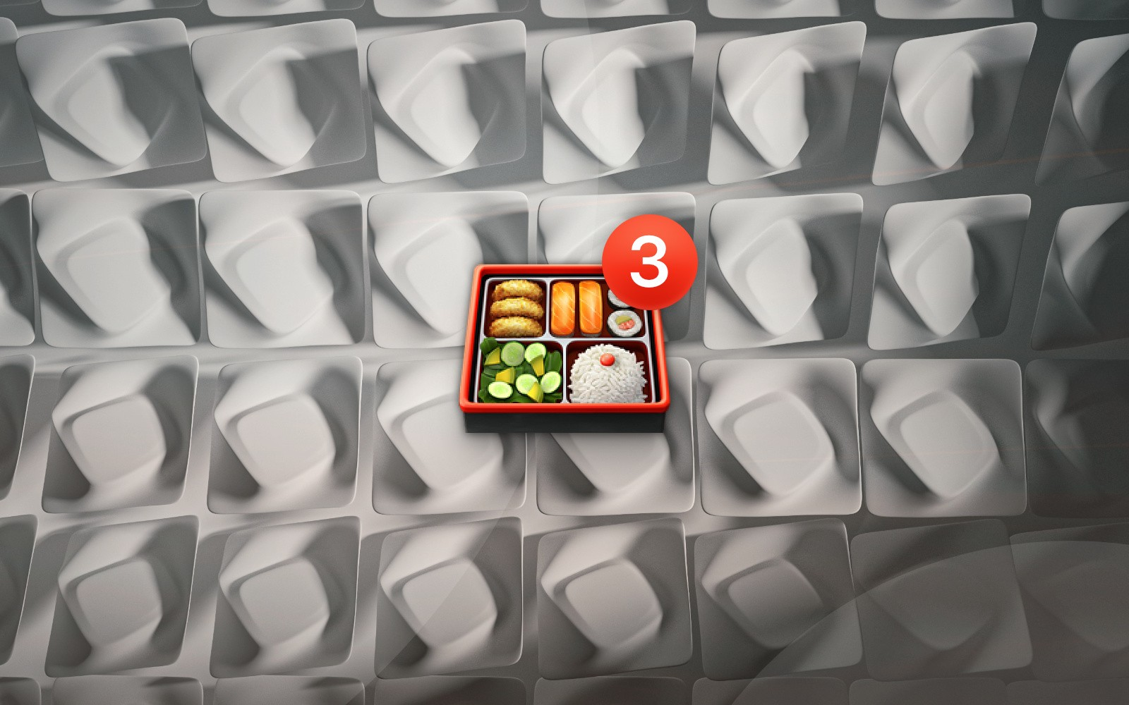 Bento box emoji with number 3 badge on abstract geometric background