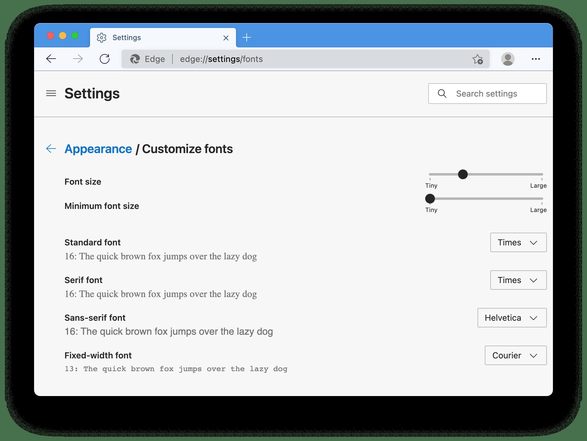 Microsoft Edge Chromium font settings running on MacOS