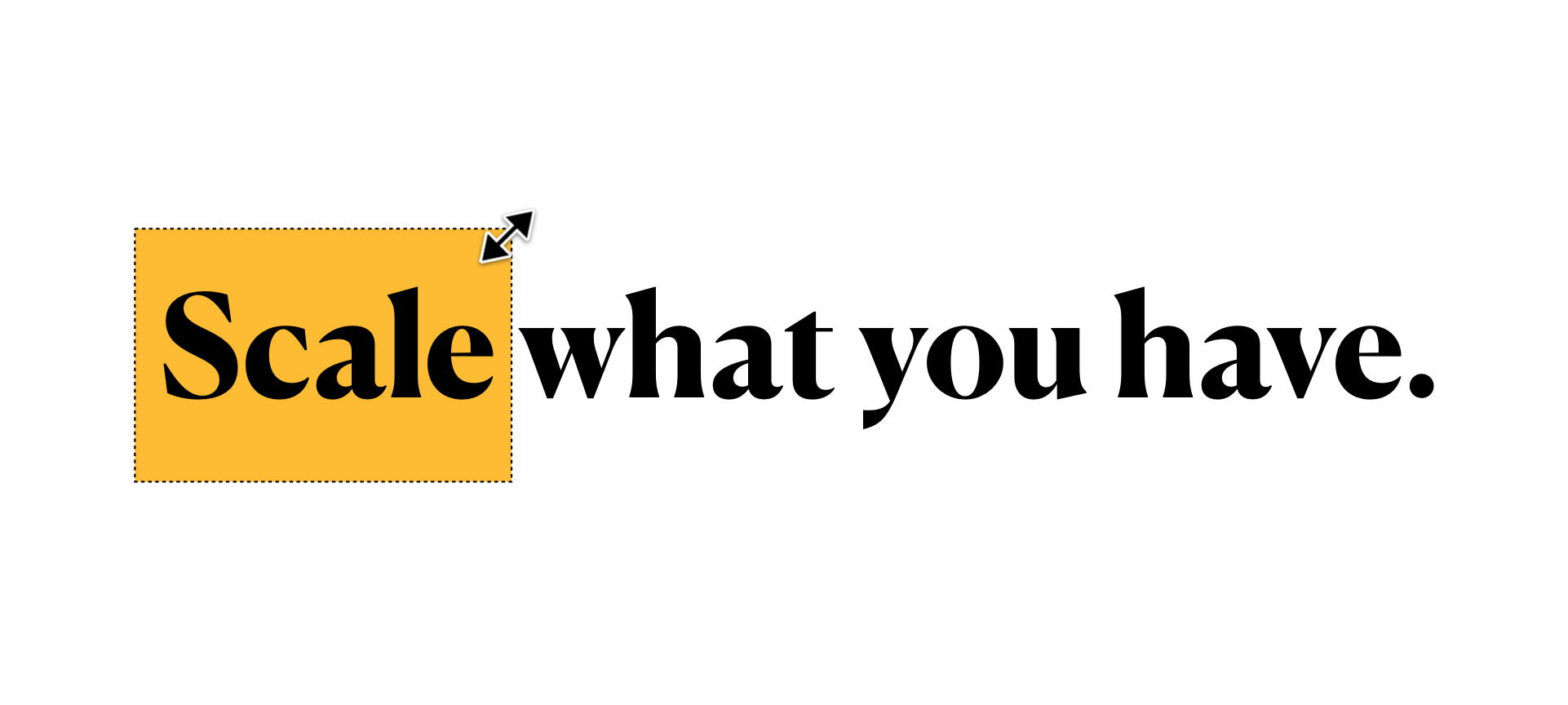 Stylized 'Scale what you have' design