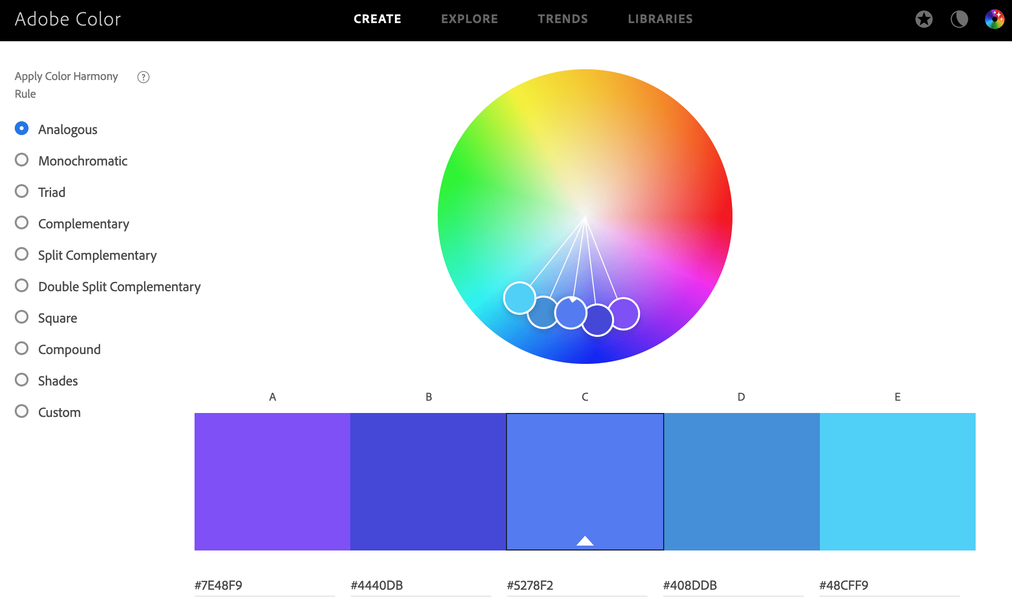 Color tools on Adobe Color