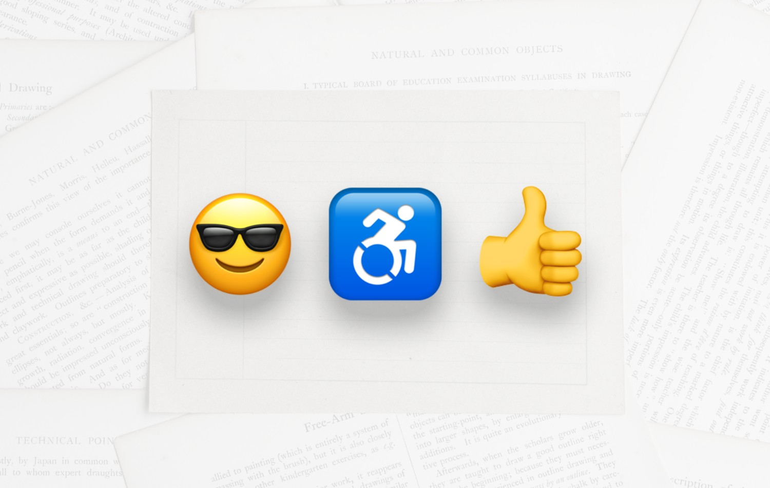 Emojis with smiling face and sunglasses along with accessibility emoji of person using a wheelchair and a thumbs up emoji.