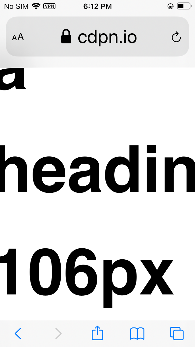 Safari on iOS with live font scaling