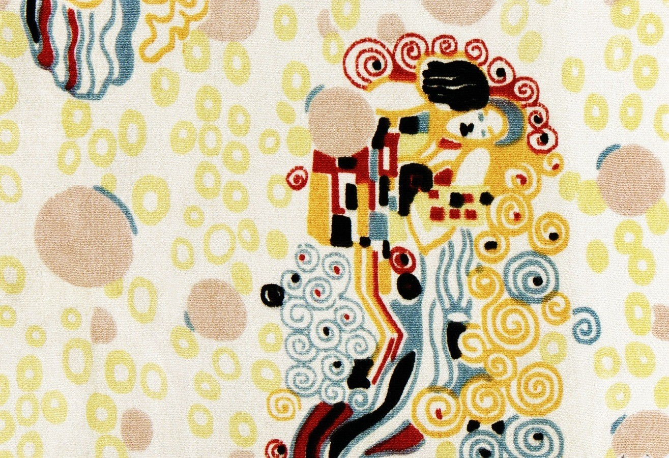 Brightly colored textile sample (ca. 1920) by Gustav Klimt. Original from The MET Museum. Digitally enhanced by rawpixel.