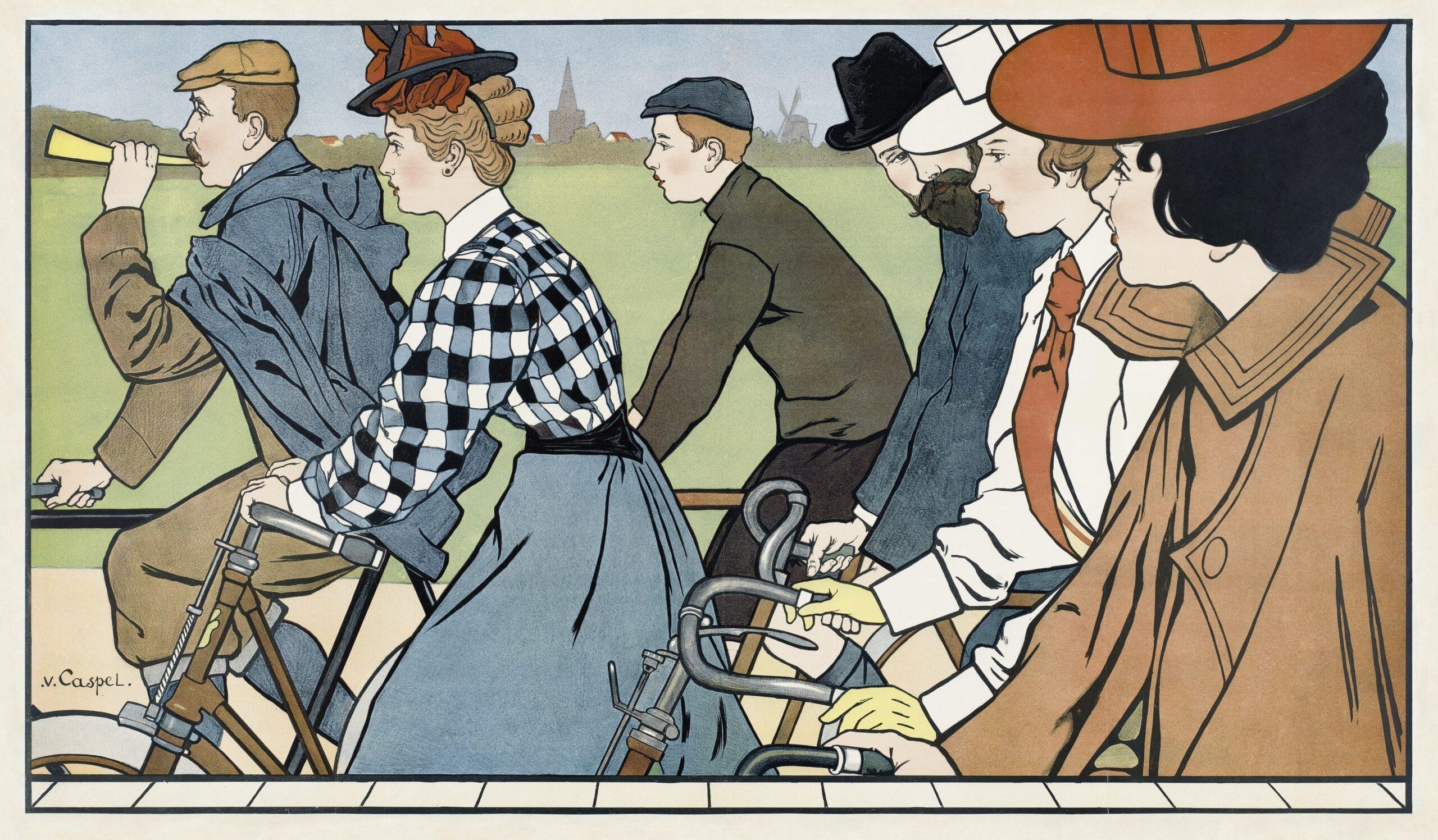 Hamers rijwielen (1912) by Johann Georg van Caspel. Victorian people riding bicycles. Original from The Rijksmuseum. Digitally enhanced by rawpixel.