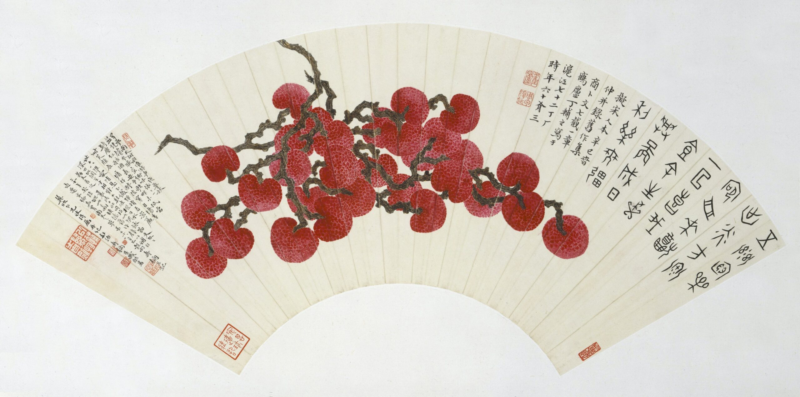 Lychees (1941) Chinese painting in high resolution by Ding Fuzhi. Original from The MET. Digitally enhanced by rawpixel.