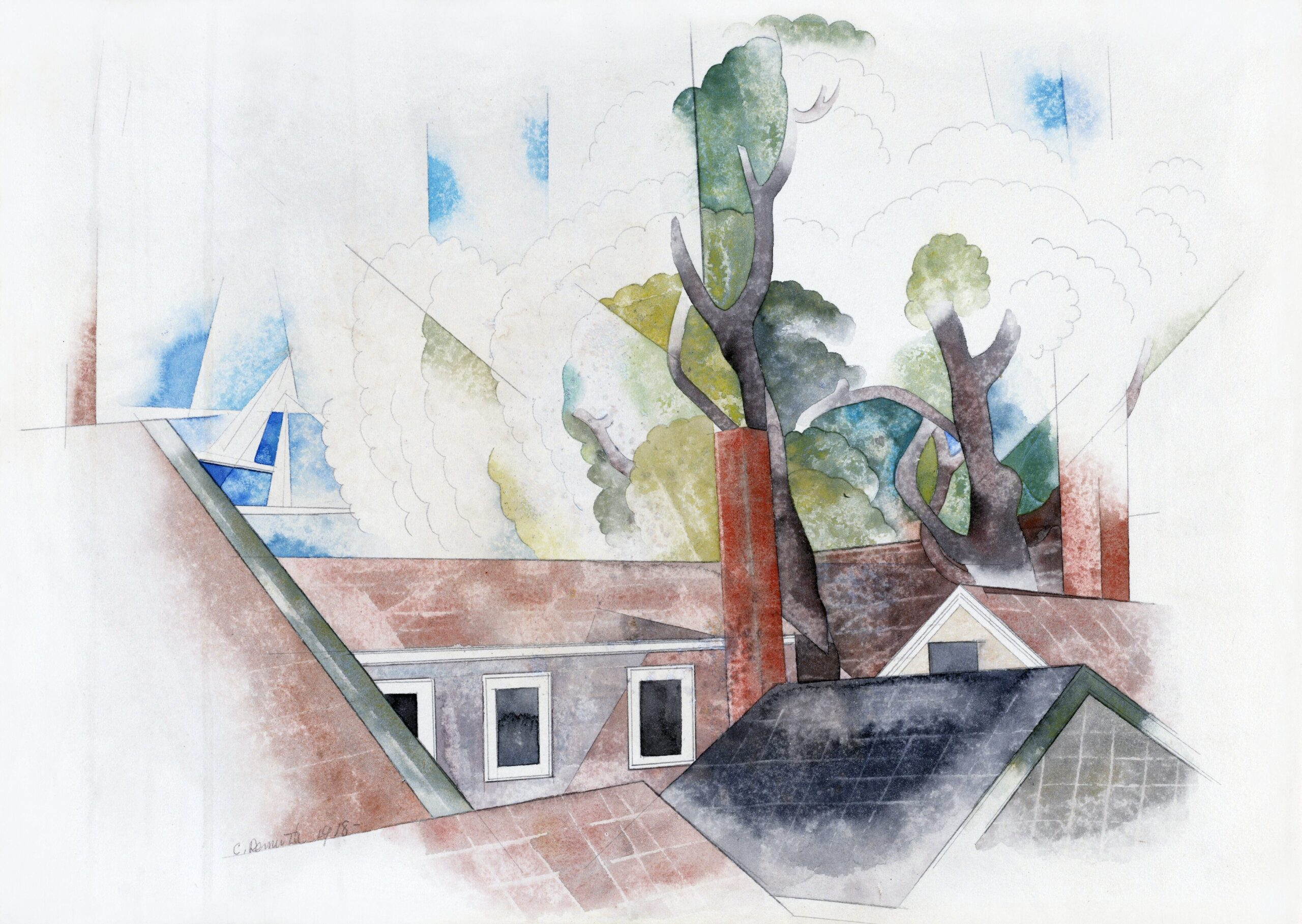Rooftops and Trees (1918) painting in high resolution by Charles Demuth. Original from National Gallery of Art. Digitally enhanced by rawpixel.
