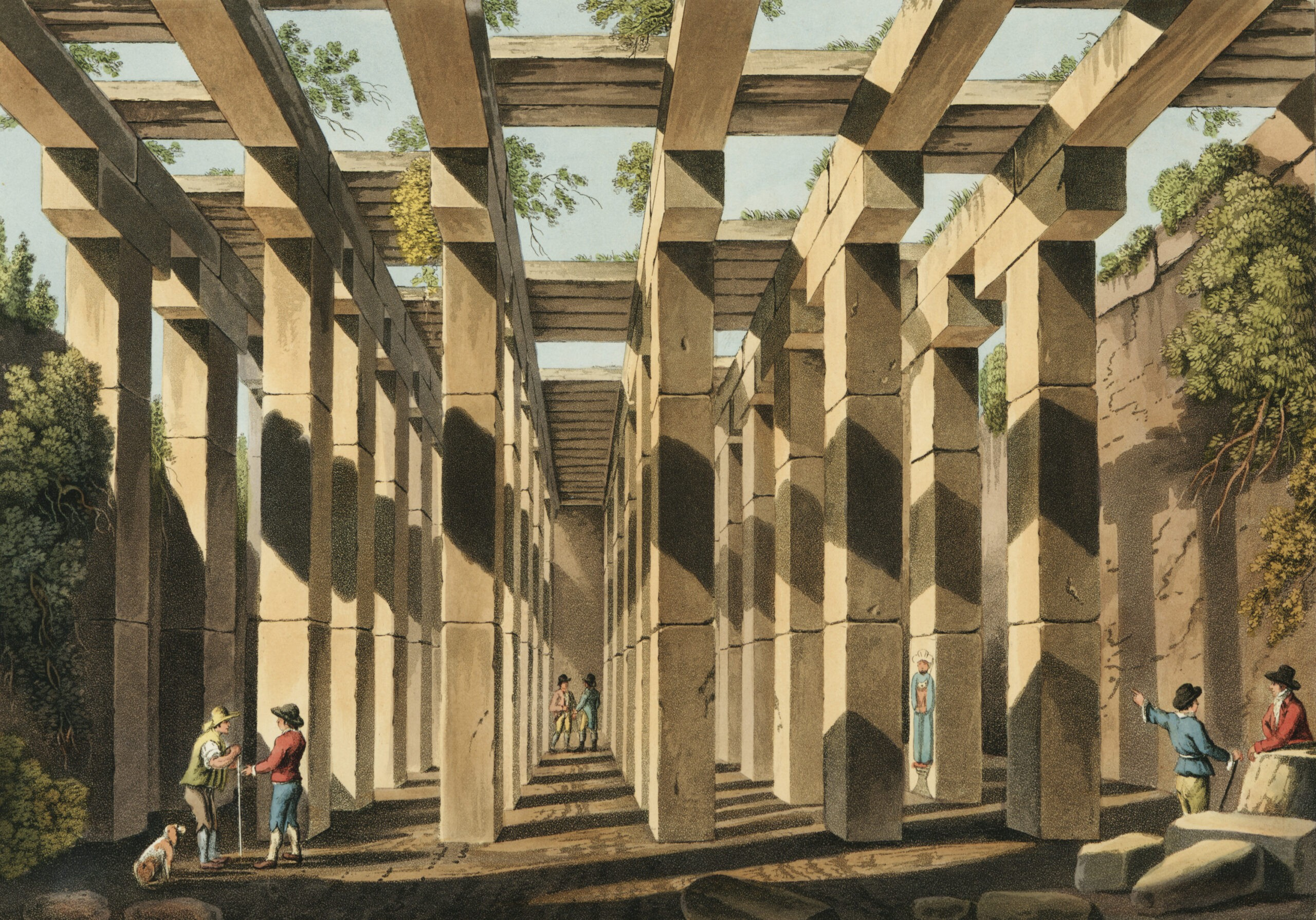 Men discussing a dizzying and broken structure of ancient columns. 'Ancient Cistern in Val di Noto from Views in the Ottoman Dominions, in Europe, in Asia, and some of the Mediterranean islands (1810)' illustrated by Luigi Mayer (1755-1803).