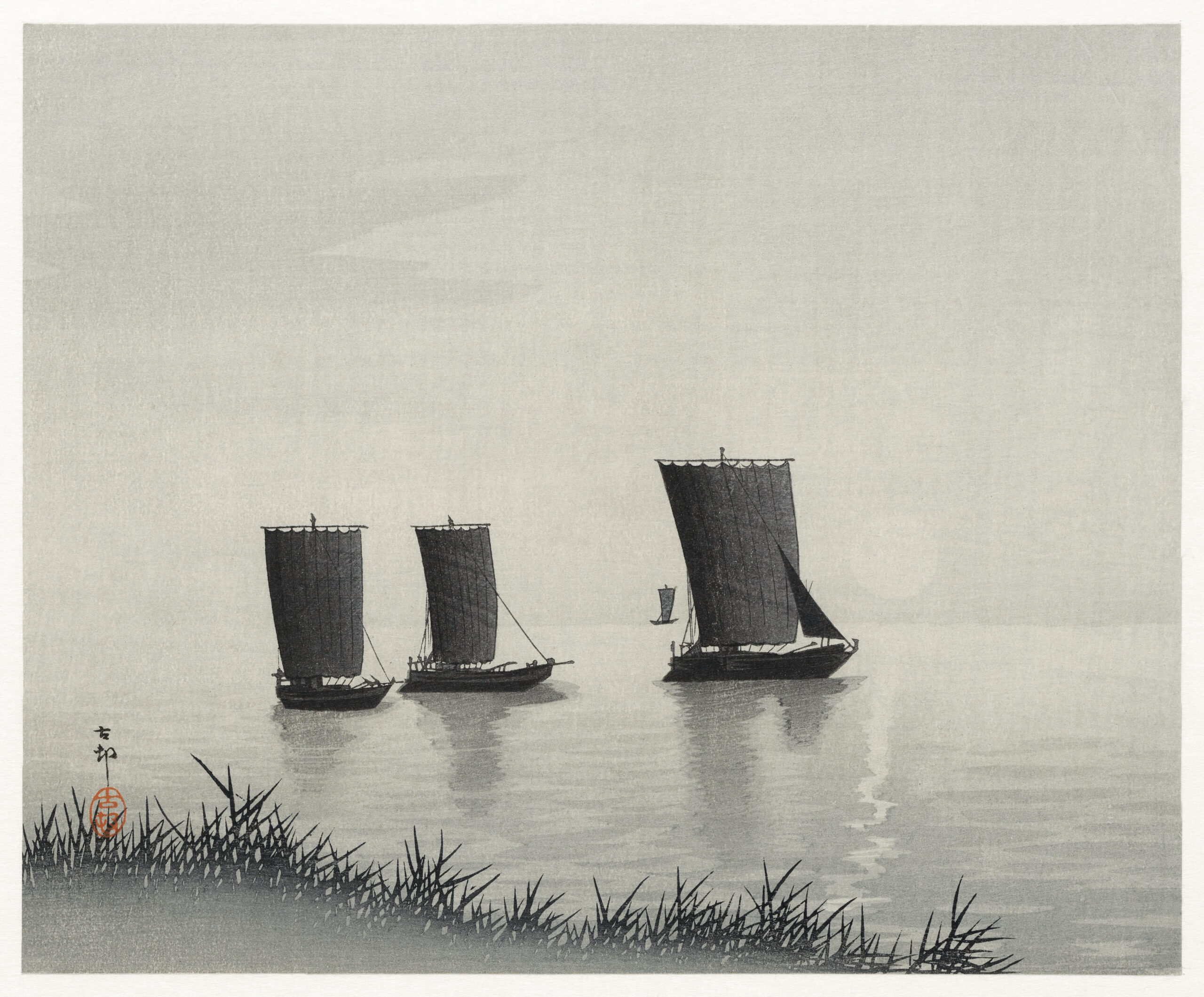 Fishing boats (1900 - 1936) by Ohara Koson (1877-1945). Original from The Rijksmuseum. Digitally enhanced by rawpixel.