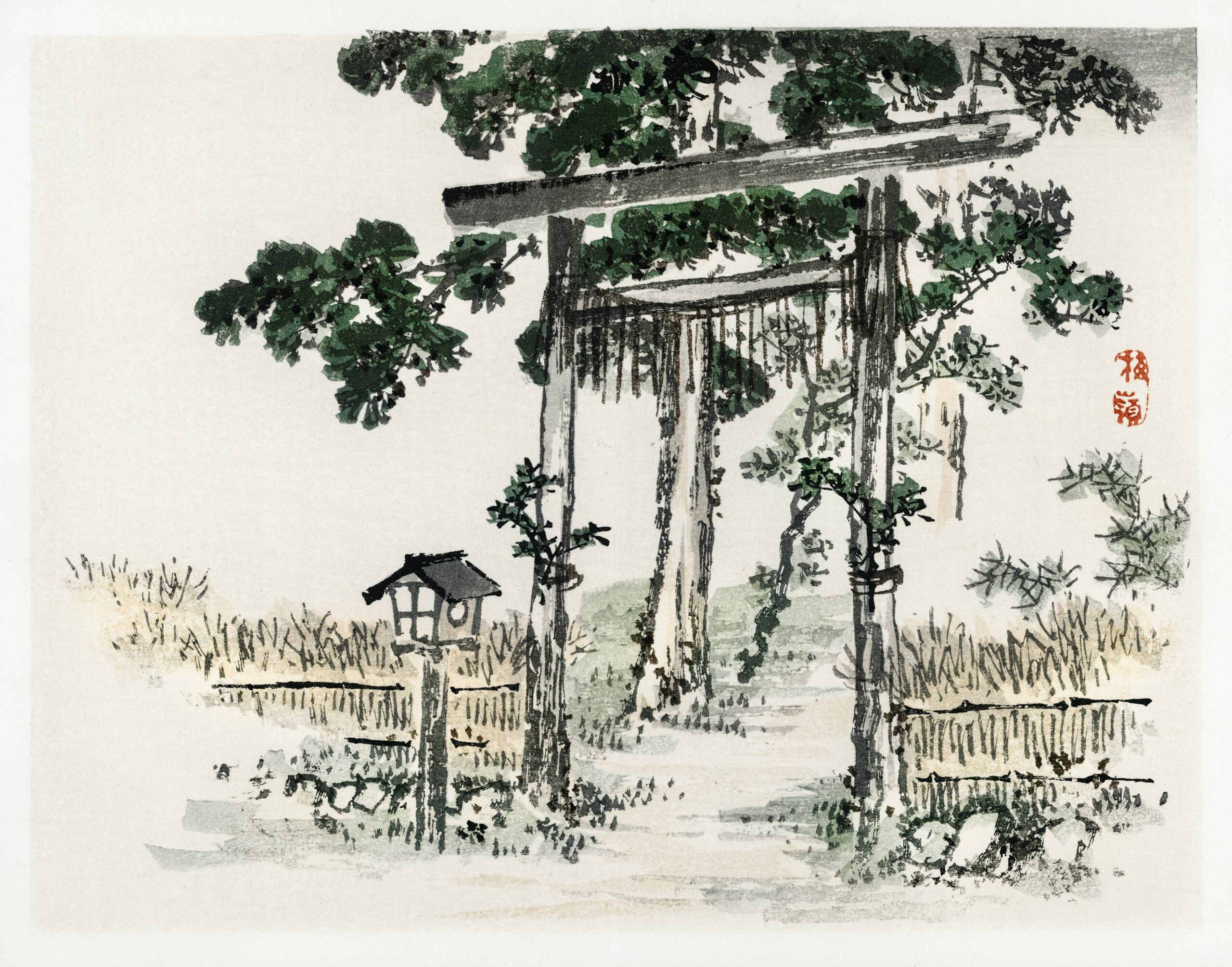Shrine gate by Kōno Bairei (1844-1895). Digitally enhanced from our own original 1913 edition of Bairei Gakan.