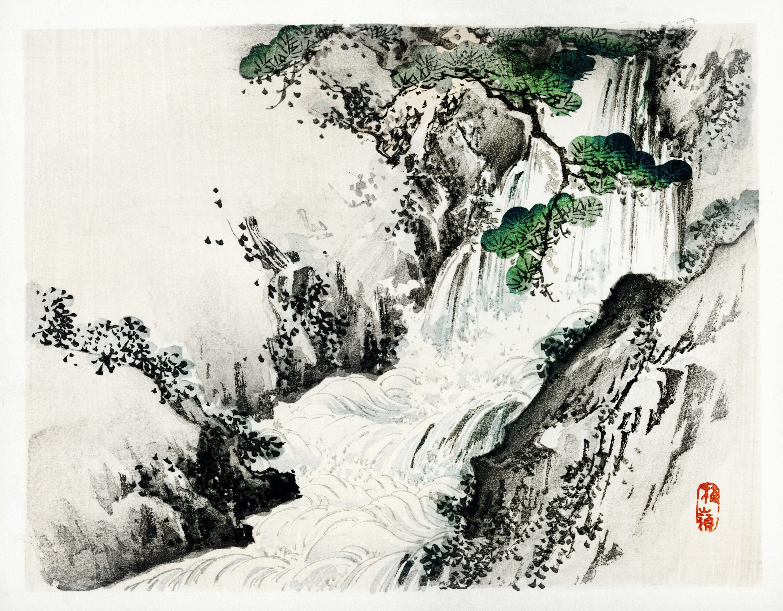 Waterfall by Kōno Bairei (1844-1895). Digitally enhanced from our own original 1913 edition of Bairei Gakan.