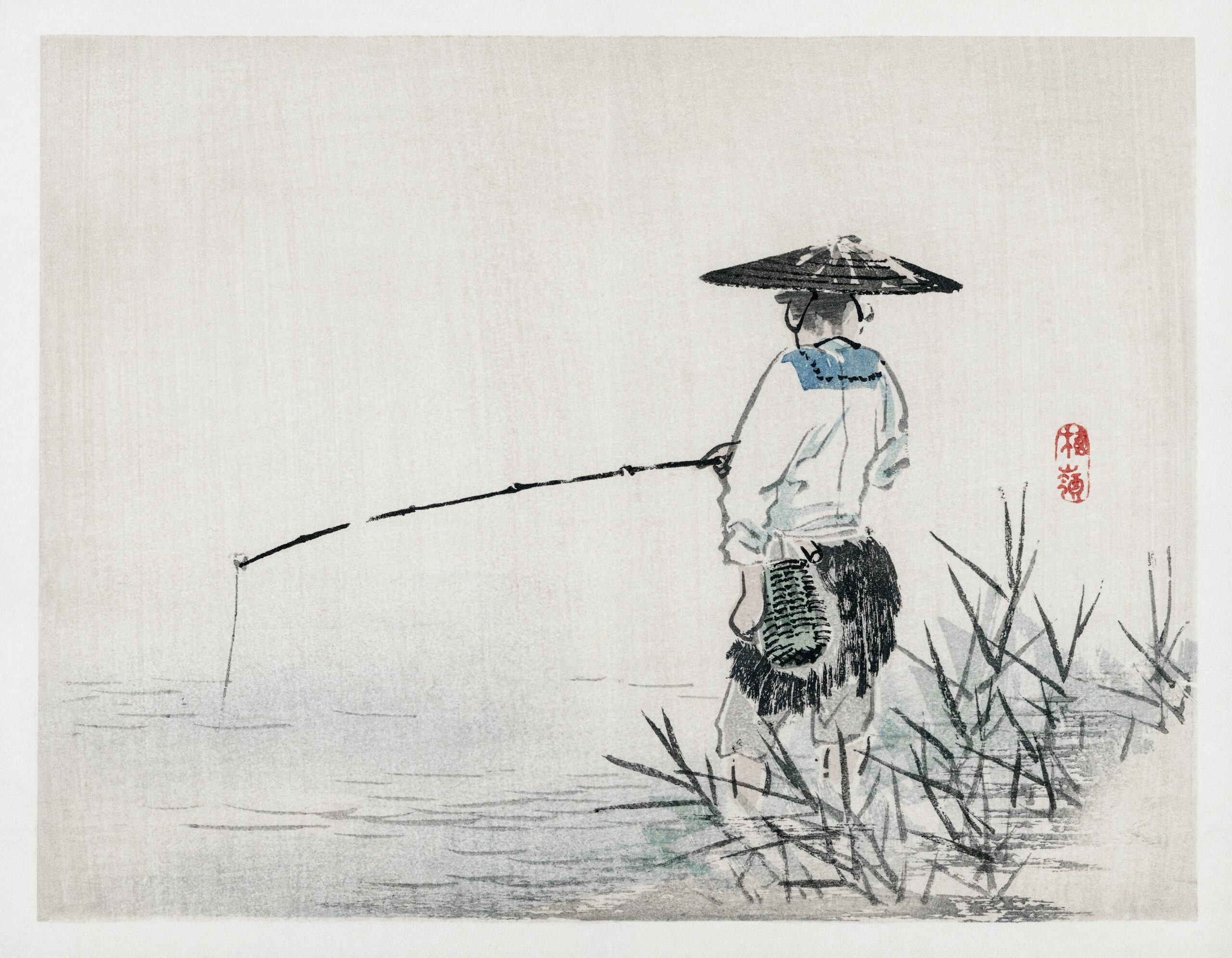 Fisherman by Kōno Bairei (1844-1895). Digitally enhanced from our own original 1913 edition of Barei Gakan.