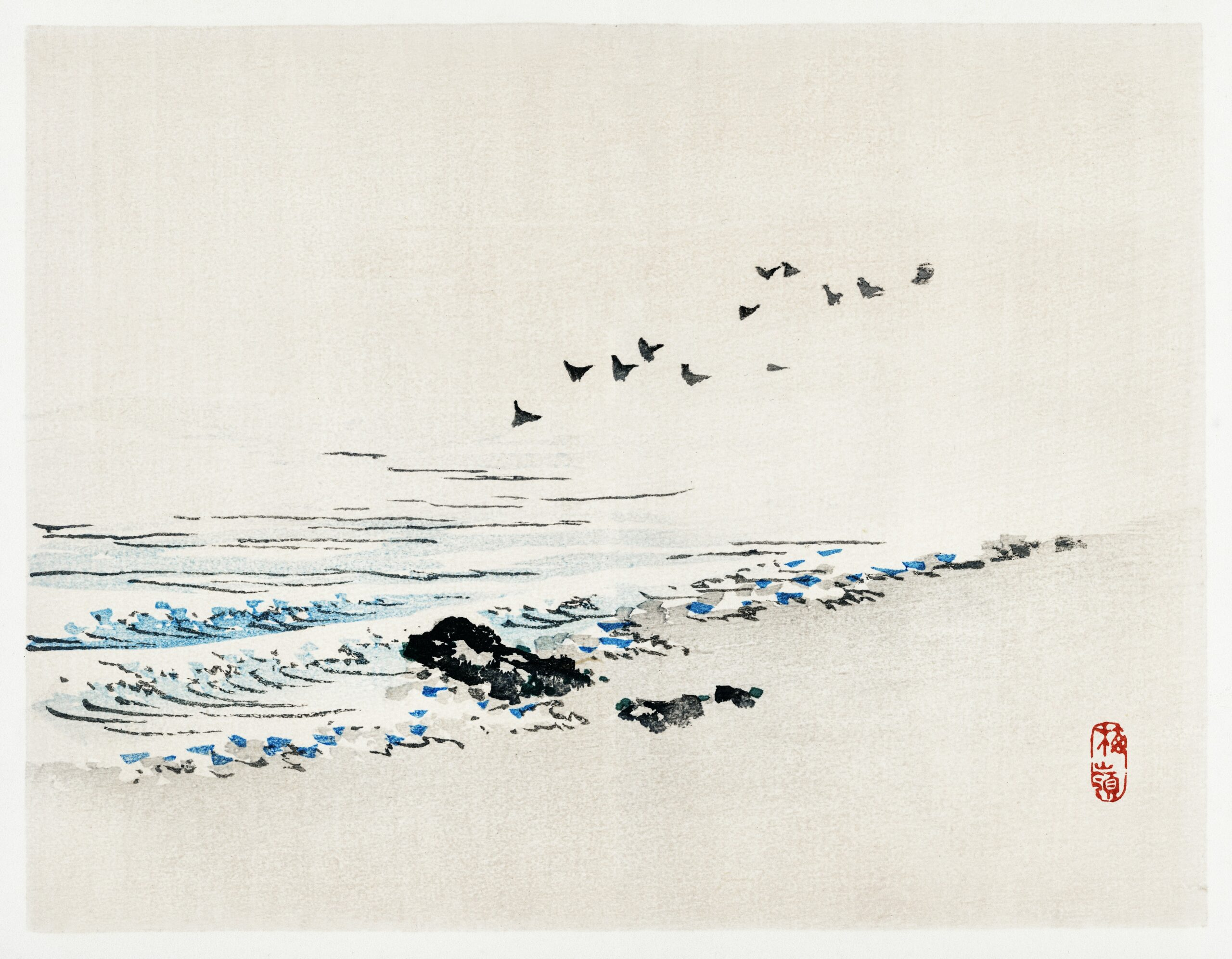 Beach scenery by Kōno Bairei (1844-1895). Digitally enhanced from our own original 1913 edition of Barei Gakan.