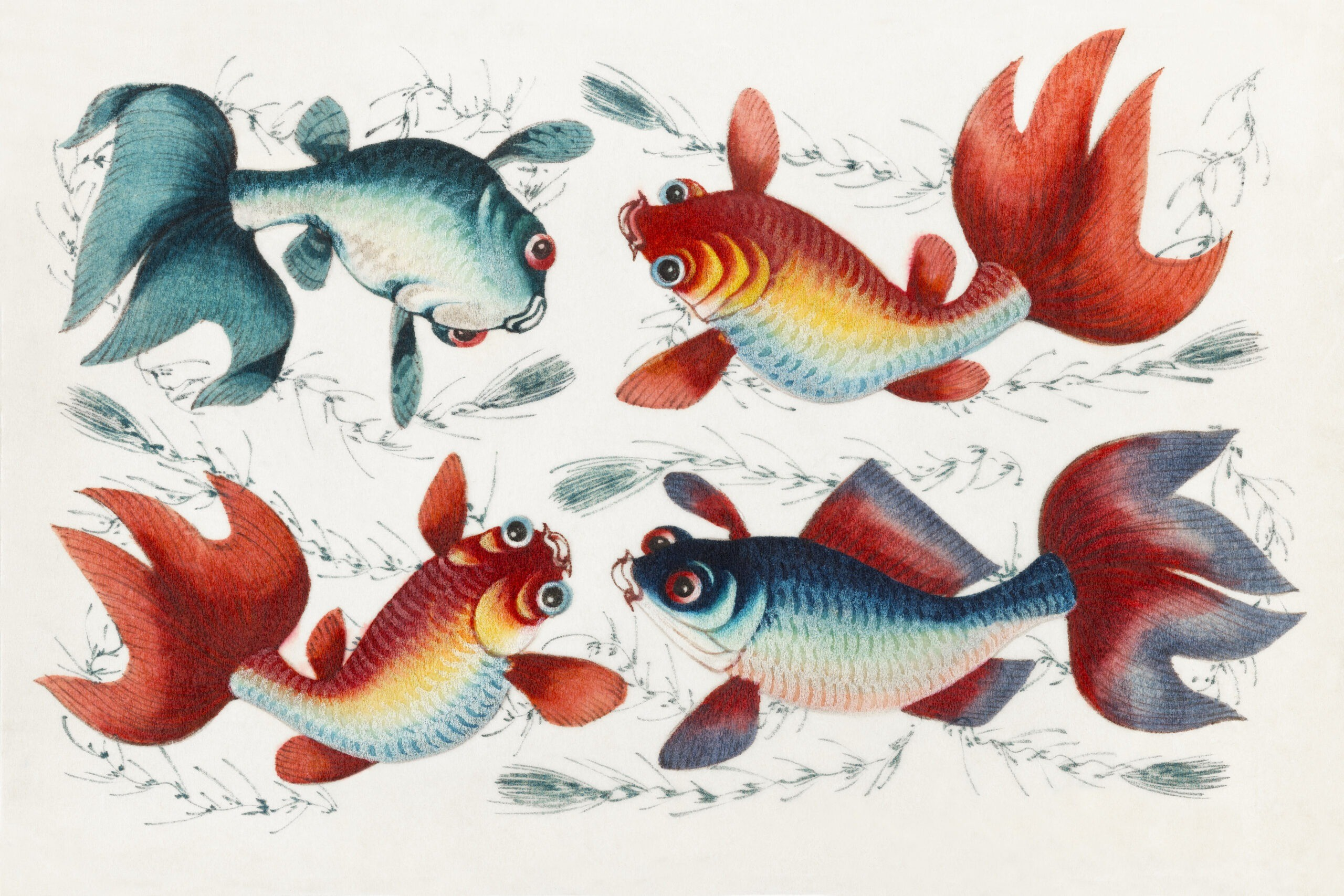 Chinese painting featuring two gold and two silver fish (ca.1800–1899) from the Miriam and Ira D. Wallach Division of Art, Prints and Photographs: Art & Architecture Collection. Original from the New York Public Library. Digitally enhanced by rawpixel.