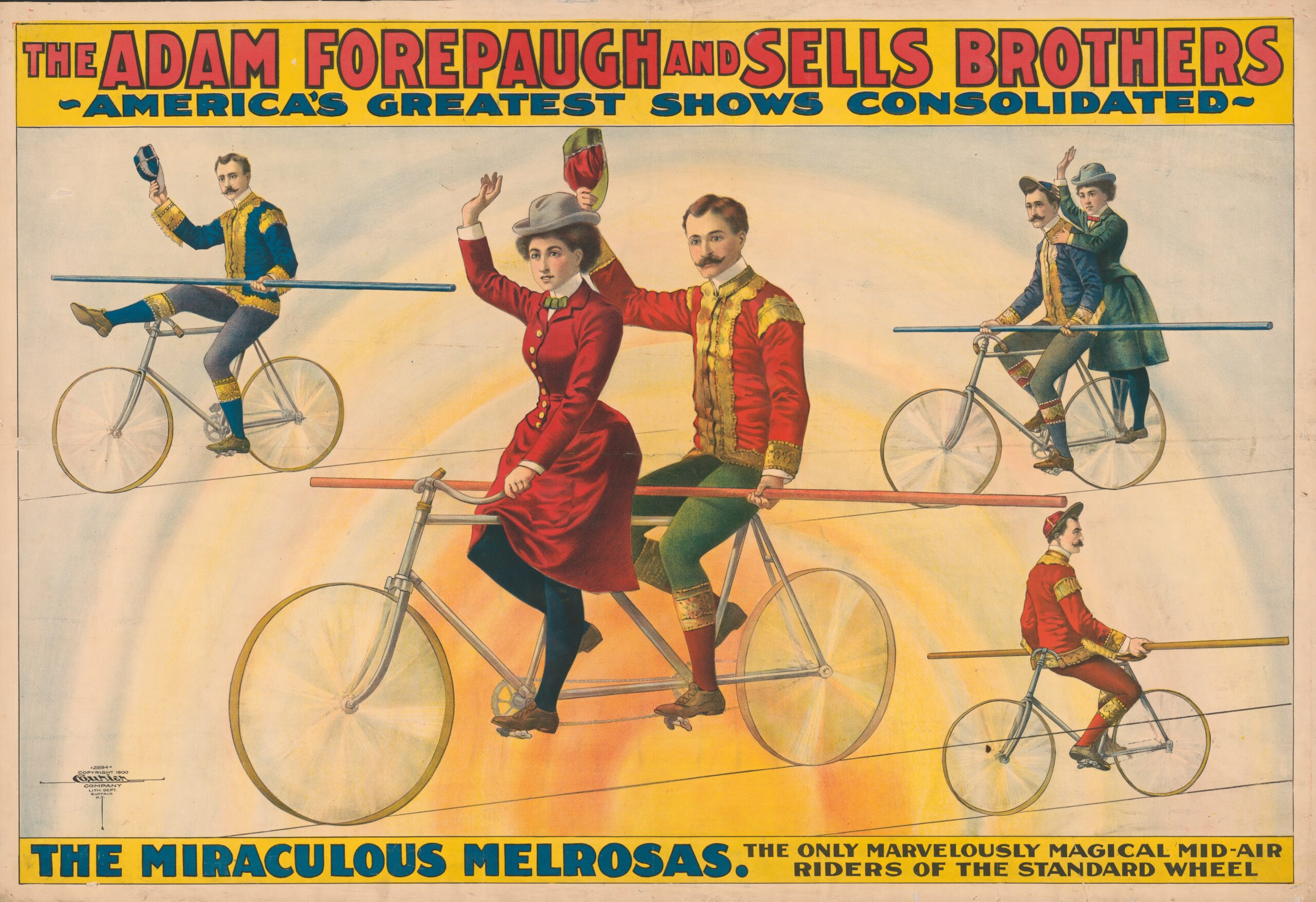 The Adam Forepaugh and Sells Brothers, America's greatest shows consolidated--The miraculous Melrosas. Chromolithograph by Courier Litho. Co., c1900. From the Circus Posters Collection. Library of Congress Prints & Photographs Division.