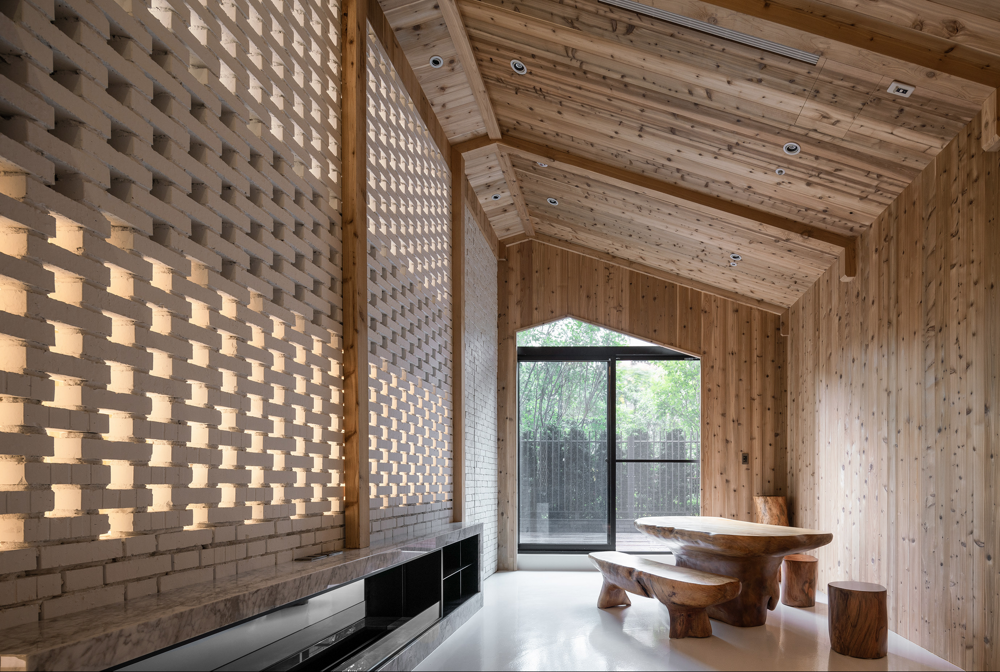 Beautiful space of wood and stone