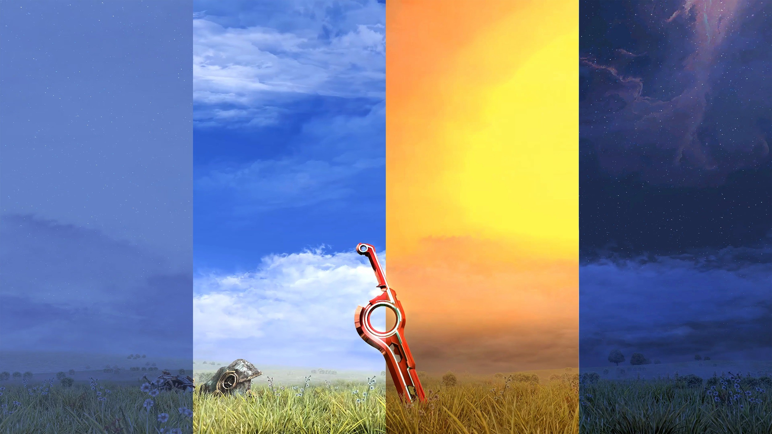 Day and night cycle of Xenoblade's Monado in a field